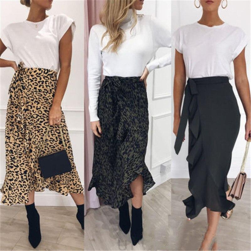 New Women Leopard Print Maxi Skirt Ladies High Waisted Summer Long Skirts Fashion Aysmmetric Skirt