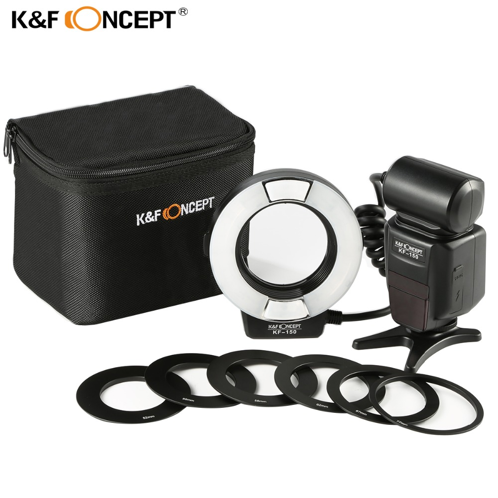K&F Concept Wireless Macro Ring Light Flashs LCD Display TTL Auto/Manual Flash+6pcs Adapter Rings For Nikon Canon DSLR CameraK&F Concept Wireless Macro Ring Light Flashs LCD Display TTL Auto/Manual Flash+6pcs Adapter Rings For Nikon Canon DSLR Camera