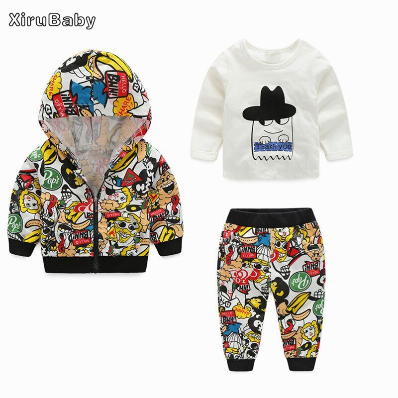 2017 fashion autumn winter baby boy girls clothing sets newborn tracksuits zipper jacket+pants+tshirt 3pcs suit baby clothes set