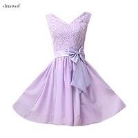 Tank V Neck Mini Women Bridesmaid Dresses Lace Party Prom Wedding Bride Dress Light Purple Lavender