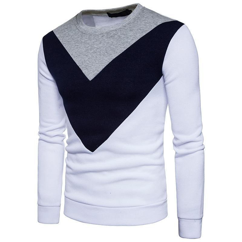 Winter Mens Fashion three color patchwork Hoodie Sweatshirt cotton Men Loose leisure Hooded Pullover No cap sweatshirt S-XXL