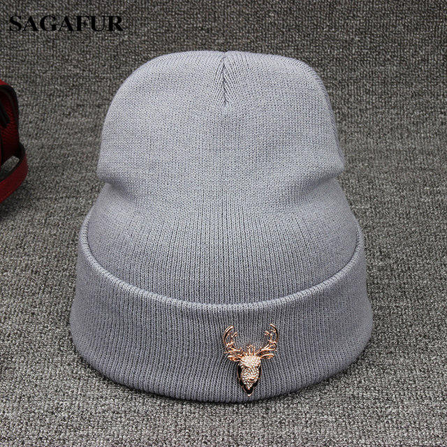 b47257baf1e Plain Hat Female Winter Cap Women s Acrylic Bonnet Hat For Girl Warm  Knitted Hat Outdoor Ski Beanie With Rhinestone Elk Head Pin