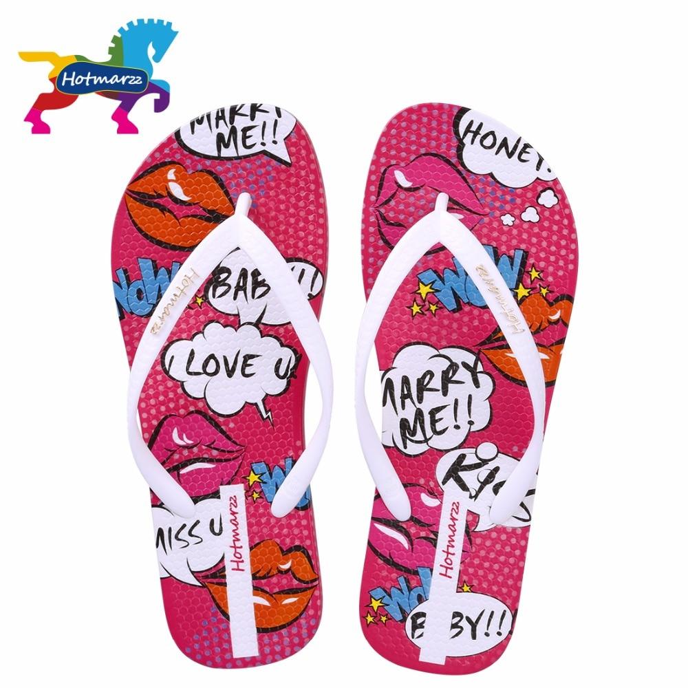 цена на Hotmarzz Women Flip Flops Fashion Slippers Red Lips Cartoon Non-slip Female Sandals Print Flat Beach Shoes Slides
