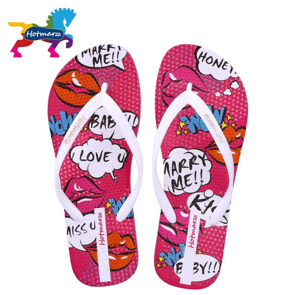 Hotmarzz Women Flip Flops Fashion Slippers Red Lips Cartoon Non-slip Female Sandals Print Flat Beach Shoes Slides image