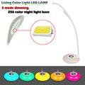 Manguera se puede ajustar de 3 Modos LED de Carga Lámpara de Escritorio Táctil Inteligente de Protección Ojos 256 color colorido luz de la noche