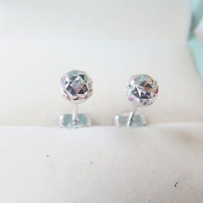 New Real Au750 18K White Gold Womens Lucky Carved Ball Stud Earrings 1-1.3gNew Real Au750 18K White Gold Womens Lucky Carved Ball Stud Earrings 1-1.3g