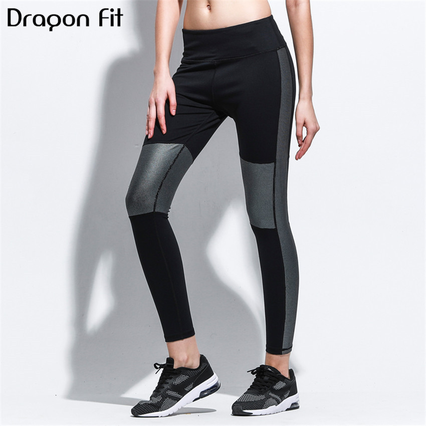 Dragon Fit Patchwork Elastic Yoga Pants Women Breathable Sport Leggings Running Compression Fitness Compression Pants Female