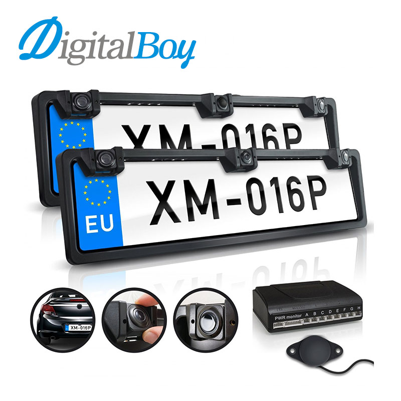 Digitalboy European Front & Back License Plate Frame 4 Parking Sensors 1 Rear View Camera Auto Number Plate Frame for EU License 1 european license plate frame 1 car rear view camera 2 parking sensor automobiles number plate frame for license plate