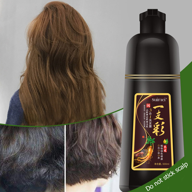 Organic Ginseng Permanent Black Hair Shampoo for White Hair