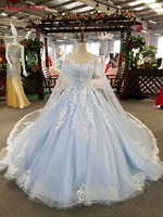 Angel Tree Plus Size Full Beading Crystal 3D Flower Luxury Bridal Gowns Cathedral Train Ball Gown Light Blue Wedding Dresses