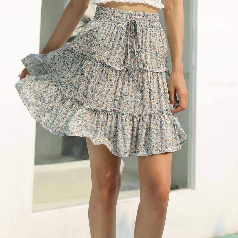 2020 Floral Casual A Line Skirts Summer Women High Waist Fashion Ruffle Womens Mini Beach Skirt Feminine