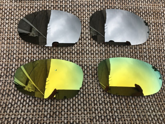e952e46e94 2 Pairs Silver   24K Gold Polarized Replacement Lenses Lens for Juliet  Sunglasses