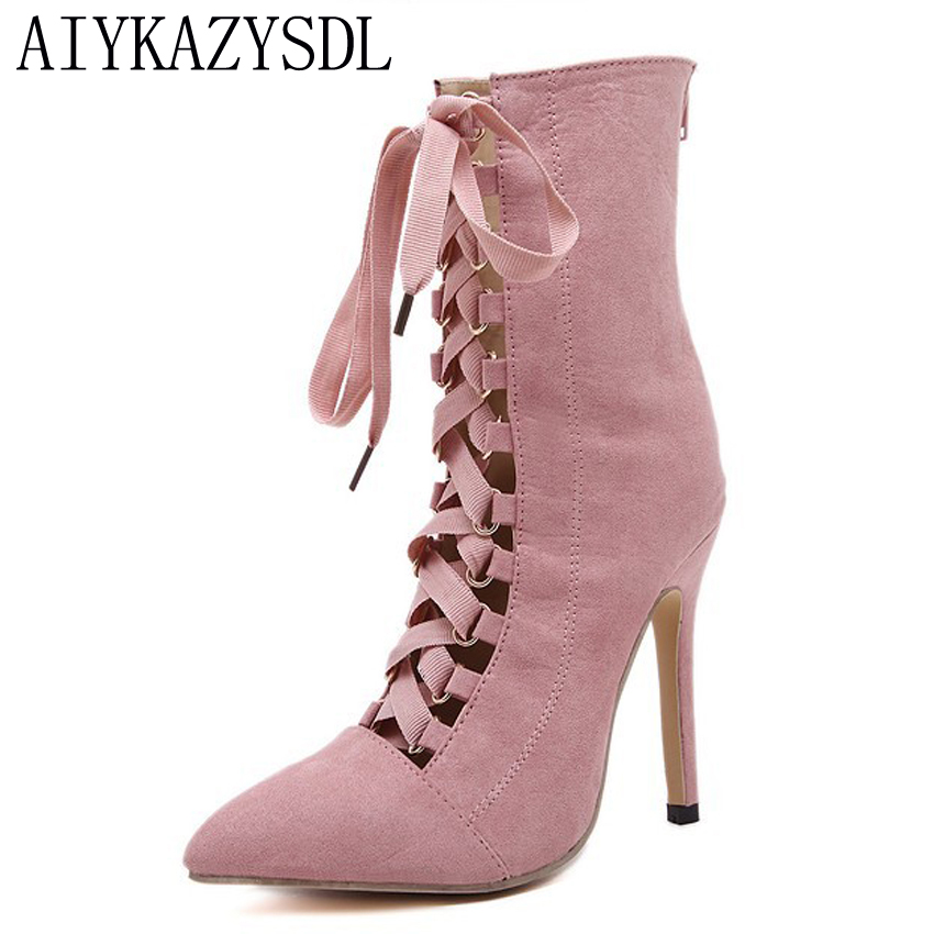 AIYKAZYSDL High Heel Shoes Women Pumps Pre Spring Lace Up Stiletto Gladiator Rome Boots Short Bootie Ankle Boots Sapato Feminino