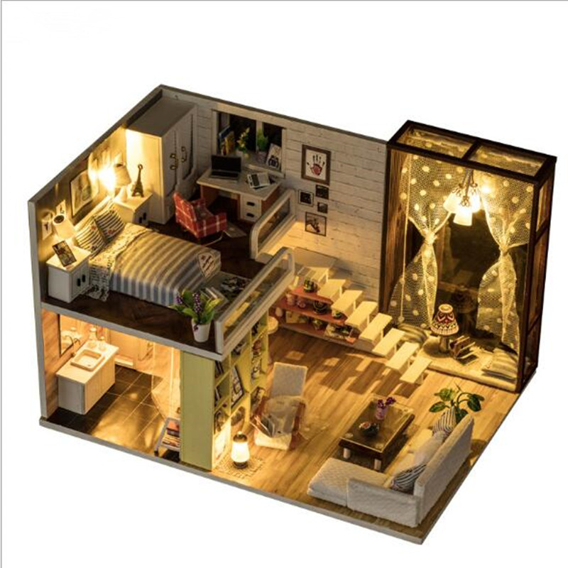 Cute room DIY Doll House 3D Wooden Miniatura Doll Houses Miniature Dollhouse toys With Furniture Christmas Gift large size diy wooden miniatura doll house with light music furniture handmade 3d miniature dollhouse toys wedding gits