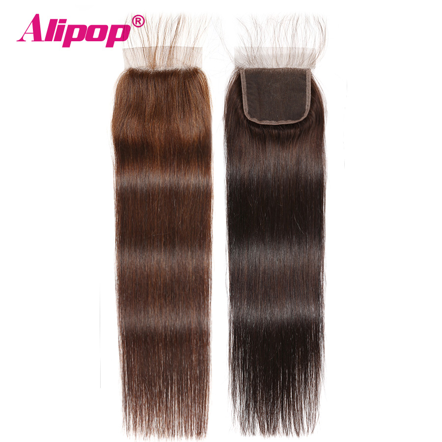 Alipop Dark Light #2 #4 Color Brown 4x4 Brazilian Lace Closure Straight Human Hair Non Remy Free/Middle/Three Part 10