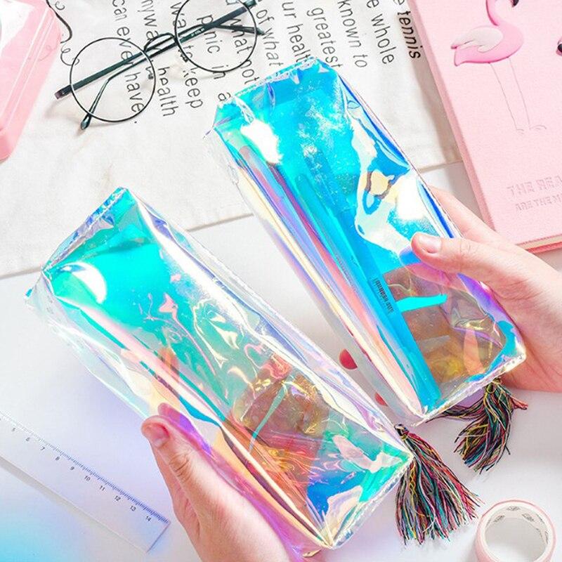 New Iridescent Laser Pencil Case PU Transparent  Hologram Holographic Pencilcase Makeup Bag School Supplies Stationery Gift