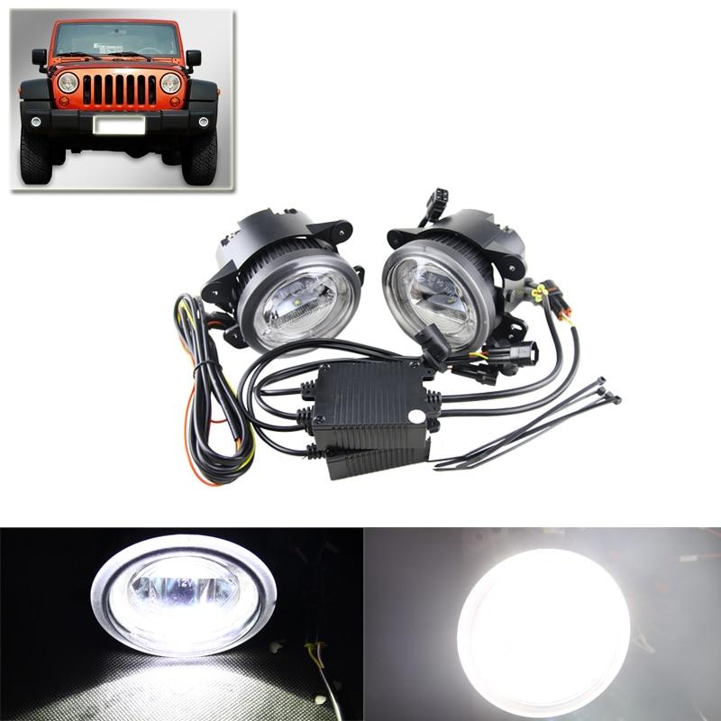 Car-Styling Led Fog Lights Assembly Xenon White DRL Daylights Ring For Chrysler PT Cruiser Magnum Journey 300 For Jeep Wrangler chrysler pt cruiser 2 0 i 16v