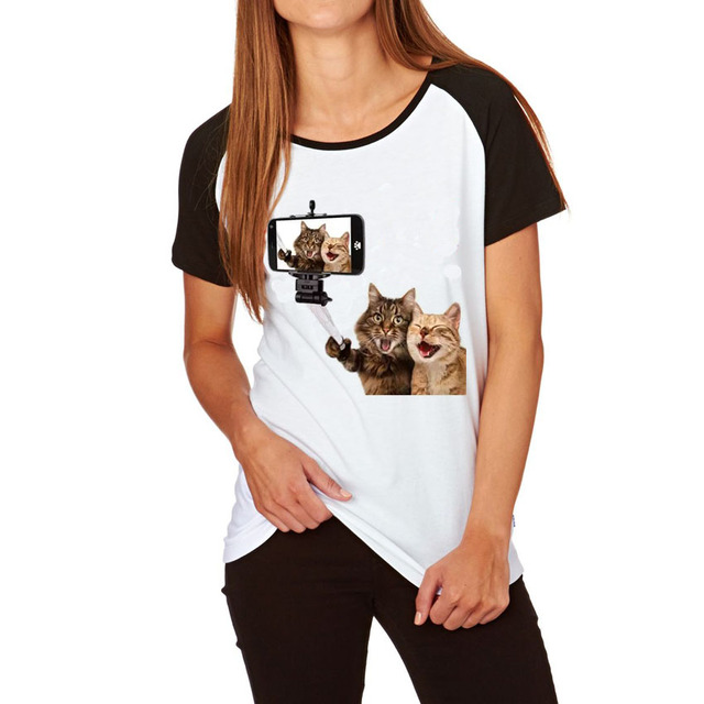 217b4839 Women's Raglan Sleeve Funny 3D Cat Print T shirt Summer Brand T-shirt Women  Plus Size Loose Lady Tshirt Femme O-neck Cotton Tops