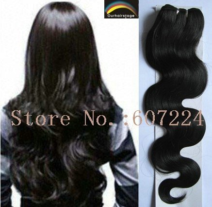 "22""BODY Weft Hair Extension 100% Indian Remy Human Hair,Natural Colour,10pcs/lot,Express Free Shipping"