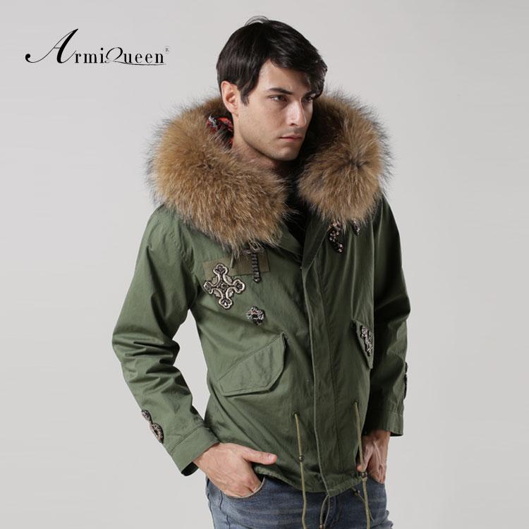 2016 Fahionable Beading Snake raccoon dog fur collar cotton liner parka Men Casual