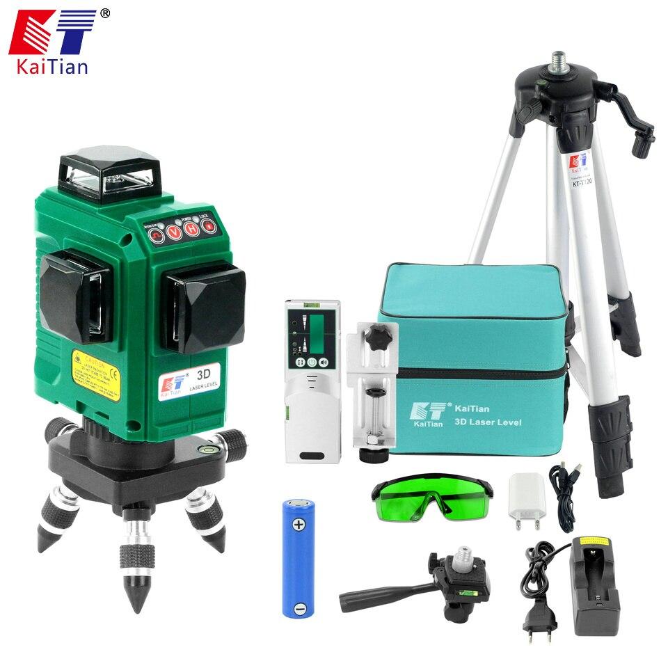 KaiTian 12 Lignes 3D Laser Niveau Récepteur Auto-Nivellement Horizontal 360 Vertical Croix Super Puissant Vert Laser Trépied Faisceau ligne