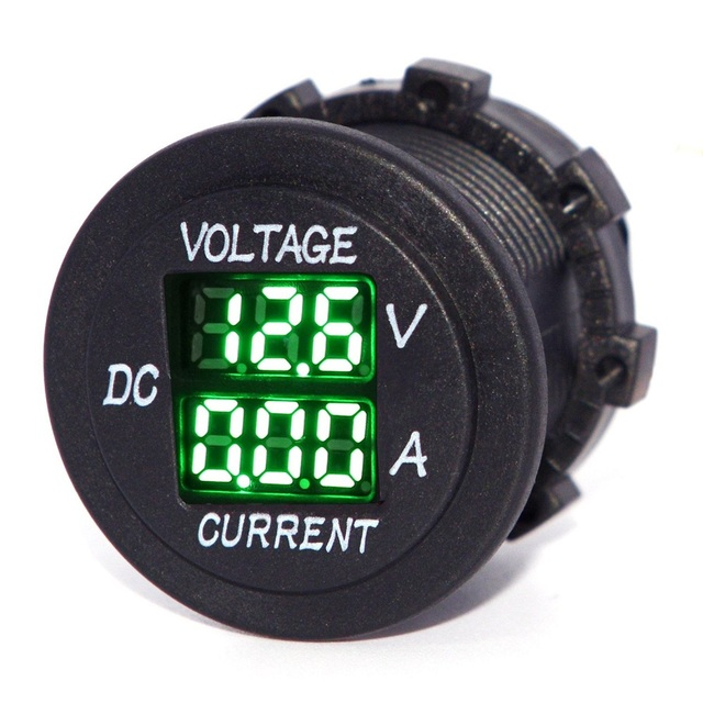 Digital Multimeter Current Tester&Voltage Tester for Boat Marine Vehicle Motorcycle Truck ATV Camper LED Round Panel - Green LED