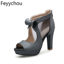 Women Shoes High Heels Platform Shoes Bow Peep Toe Ladies Pumps Sexy High Heel Party Shoes Silver Size 34-43 Sapatos Femininos women s platform shoes new spring casual woman weave shoes breathable girls handmade sapatos femininos loafers ladies shoes fx3