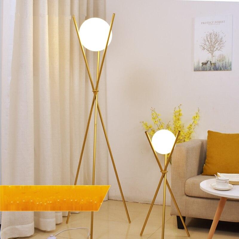 Modern Glass Ball Gold Floor Lamp Home Decor Tripod