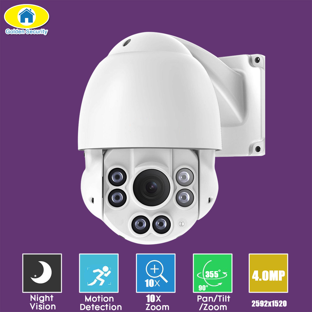 Golden Security 10X Zoom 4 Mini Outdoor PTZ Camera IP66 H.265 H.264 High Speed Full HD 4.0MP IP Camera ONVIF Night Vision APP