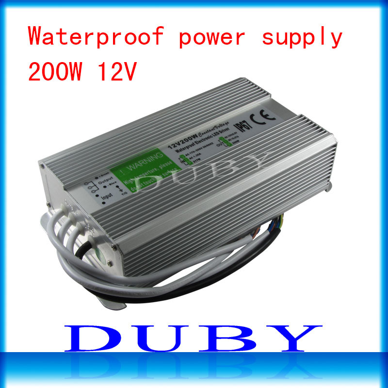 10piece/lot IP67 12V 16.7A 200W AC100-240V Input Electronic Waterproof Led Power Supply/ Led Adapter 12V 200W free Fedex factory outlet ip67 constant voltage 12v 200w power driver waterproof 200w 12v led power supply