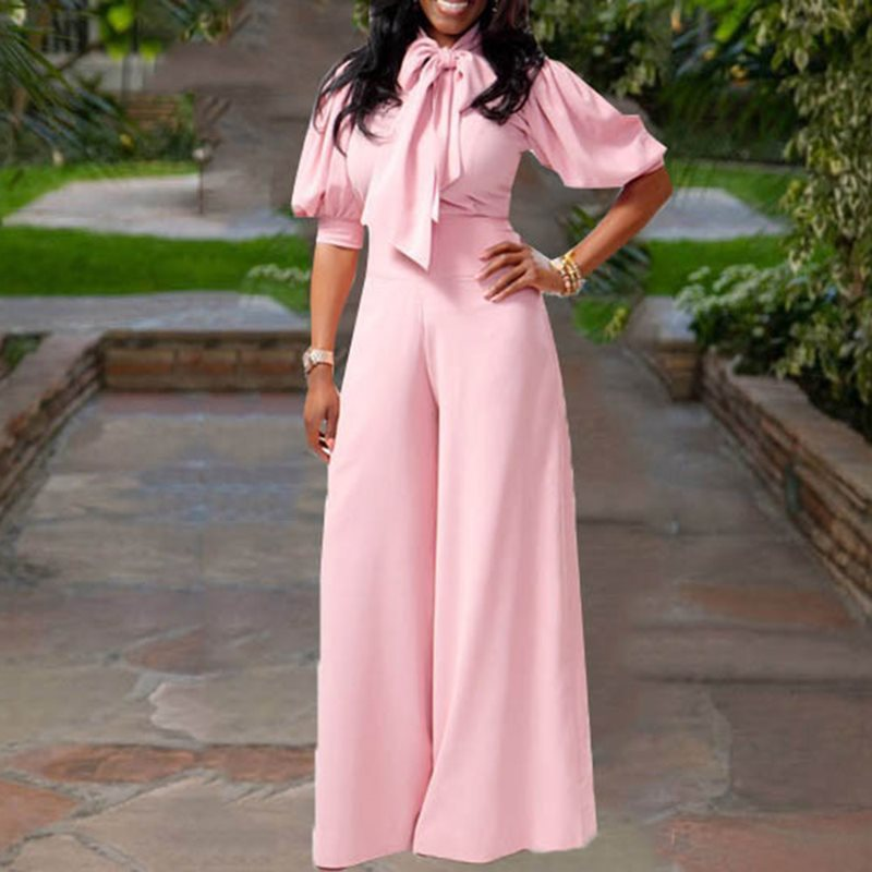Summer Bowknot Pink Plus Size Rompers Office Streetwear Full Length Wide Legs African   Jumpsuit   for Women 2019 Female Overalls