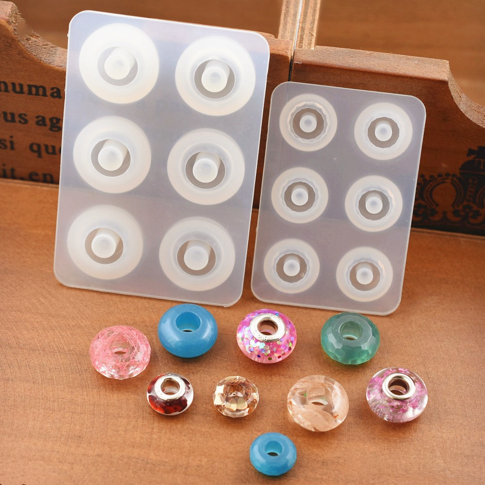 SNASAN Silicone Mold For Jewelry Making 12mm 16mm Flat Ball Beads With Hole Epoxy Resin Silicone Mould Handmade Craft  Diy