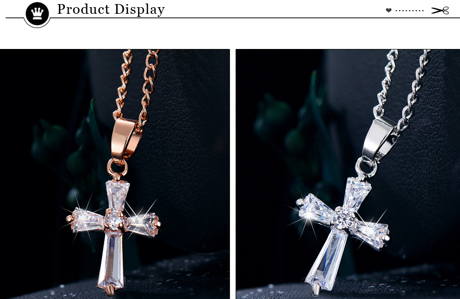 HTB1RVrhCER1BeNjy0Fmq6z0wVXaM - 17KM Rose Gold Color Cross Pendant Necklaces For Woman Crystal Pendant Cubic Zirconia Long Necklace Bijoux Jewelry Wholesale
