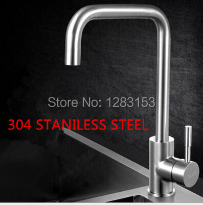 ФОТО high quality 304 stainless steel kitchen faucets drawbench single hole mix kitchen faucet antique sink water tap