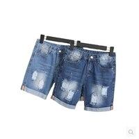 Nova Roupa Das Mulheres Ripped Holes Denim Shorts Com Bolsos Ropa Mujer Harajuku Verão Short Slim Calças Jeans Casuais Feminino D26