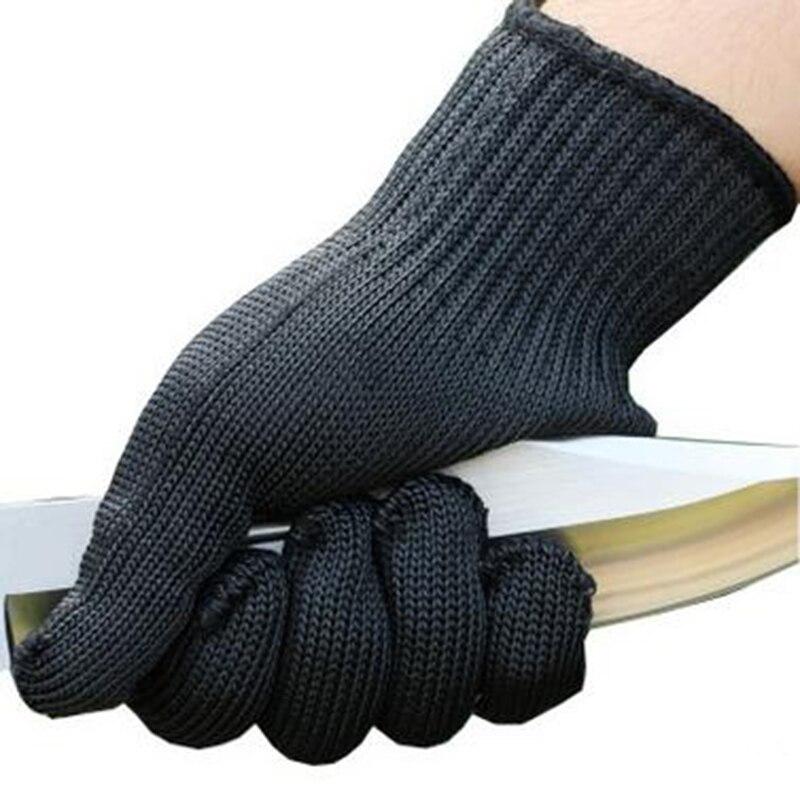 Noir Résistant Aux Coupures Gants En Acier Inoxydable Treillis métallique Niveau 5 Protection (1 Paire, Noir)