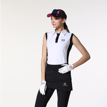 BG Brand Lady Summer Polyster Polo Shirts Quick Dry Golf Polo Golf T- shirts Sleeveless Golf Clothes for Women White/Black Color