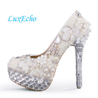 Luxury crystal wedding shoes woman ultra high heels pearl platform shoes ivory color bridal dress party shoes Women's Pumps