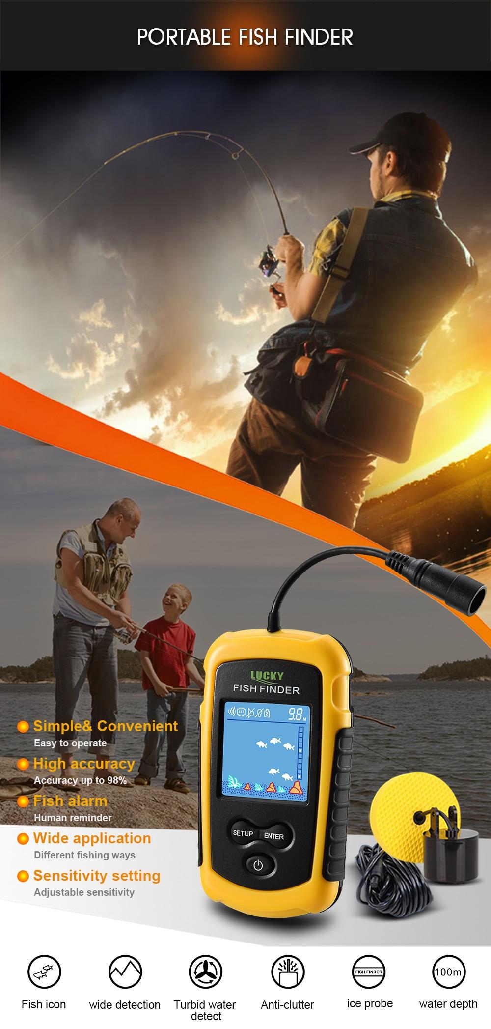 Lucky Portable Sonar Sensor Fish Finder Alarm Transducer Fishfinder