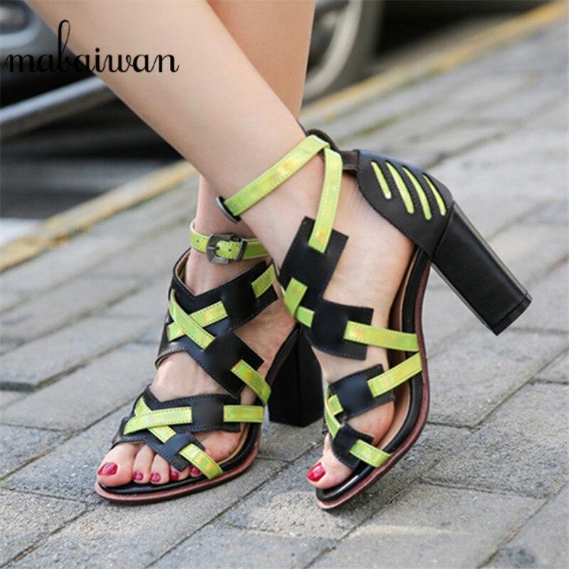 Mabaiwan décontracté carré gladiateur talons hauts croisés tissé robe chaussures femme chaussures en cuir véritable