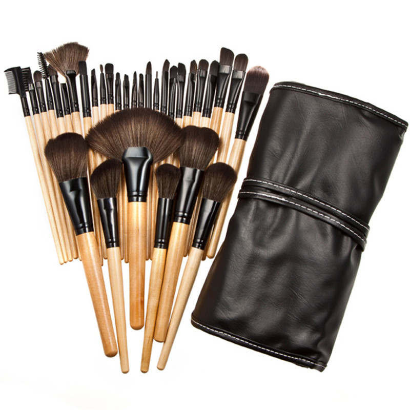 32Pcs Makeup Brushes with Bag Wood Handle Professional Make Up Set Eyeshadow Blush Foundation Facial Blending Brush Set 12pcs makeup brush set wood handle facial mask foundation brushes cosmetic eyeshadow eyebrow make up brush kit makeup bag