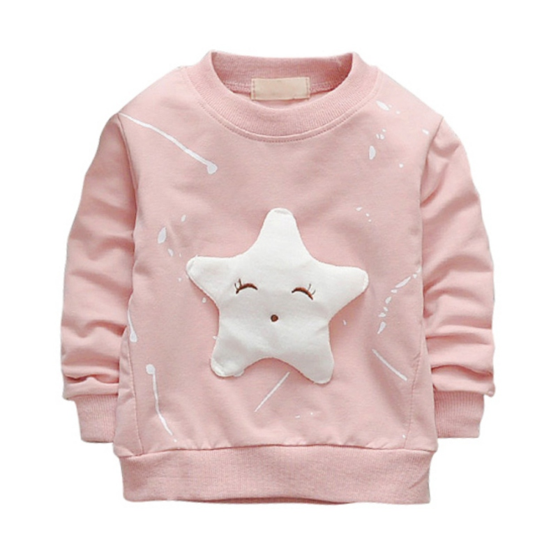 Spring Autumn Kids Cotton Long Sleeve Sweatshirt Star Pattern Casual Pullover Baby Boys Girls Clothing