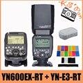 Yongnuo yn600ex-rt gn60 inalámbrica controlador maestro hss speedlite de destello + yn-e3-rt para canon + 12 unids filtros de color + difusor