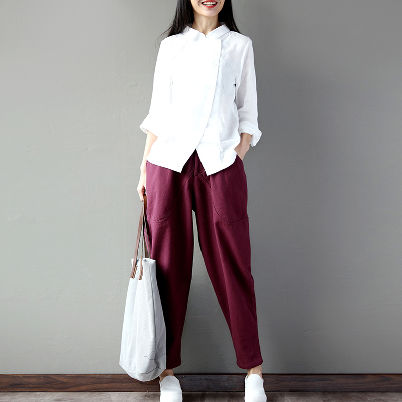 Women's Pants Leg-Trousers Pocket Spring Harem Streetwear Autumn Female Plus-Size Casual