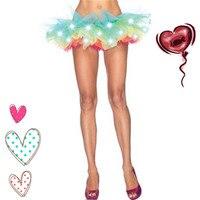 Abbille Women Tulle Tutu Skirt Sexy Mini Fancy Adult Petticoat Fluffy Ballet Dance Skirt Halloween LED