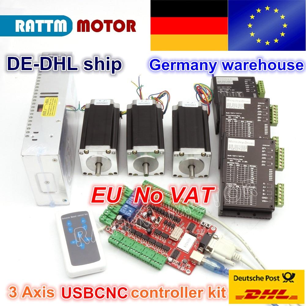 Da DE/trasporto IVA magazzino 3 aixs USBCNC NEMA23 425oz-in, 112mm, 3A (Doppio albero) motore passo-passo e 2740C DRIVER del CONTROLLER CNC kit