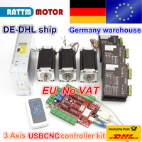 From DE/free VAT warehouse 3 aixs USBCNC NEMA23 425oz in,112mm,3A (Dual shaft ) stepper motor & 2740C DRIVER CONTROLLER CNC kit
