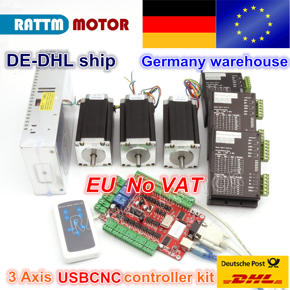 From DE/free VAT warehouse 3 aixs USBCNC NEMA23 425oz-in,112mm,3A (Dual shaft ) stepper motor & 2740C DRIVER CONTROLLER CNC kit тумба под телевизор tv 5