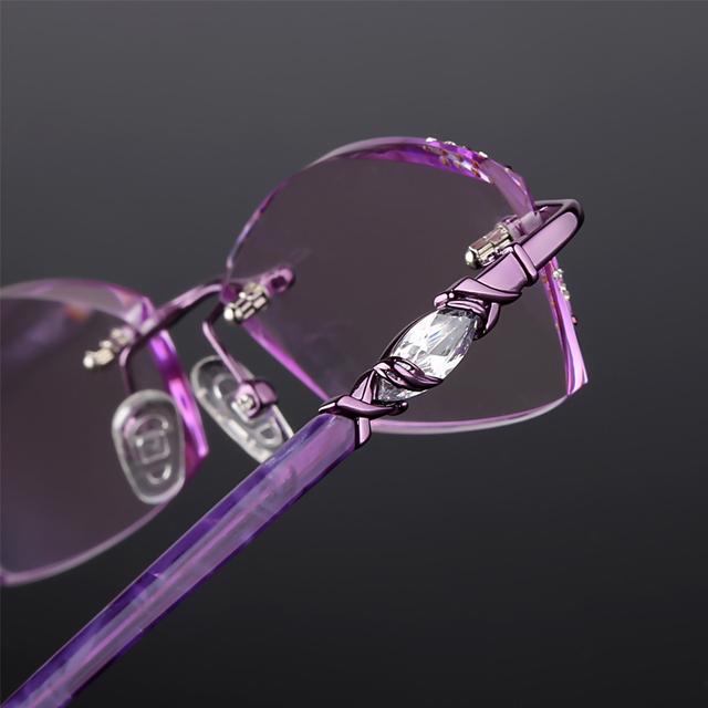 Damas de corte de diamante sin marco gafas con incrustaciones de aleación de gafas de marco acabado lentes para gafas 133 gafas de Prescripción