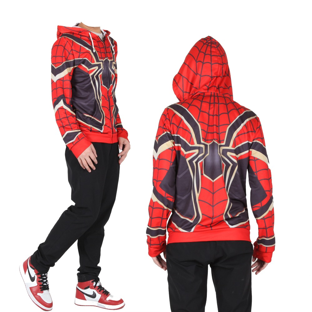 Adult Kids Avengers Iron Spider-Man Superhero Cosplay Sweatshirt Fashion Zip Up Hoodie Jacket Coat Outfit